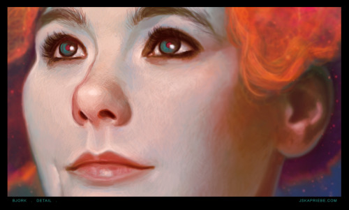 """Bjork"" - detail shot (approx 45% zoom) I thought I would upload this because I've been getting a few process questions emailed to me about color transitions and blending. And, as you can see (and this is just at 45% view or so) that they're really not that smooth at all! I tend to crosshatch a lot. This particular piece had a green/blue tinted underpainting with fleshtones painted on top. As far as resolution goes, she was painted at an 11""x17"" size at 300dpi. Any other questions I'd be happy to answer them.  I should just put up a little process gif on my next piece. Send me a message or… ask here?"
