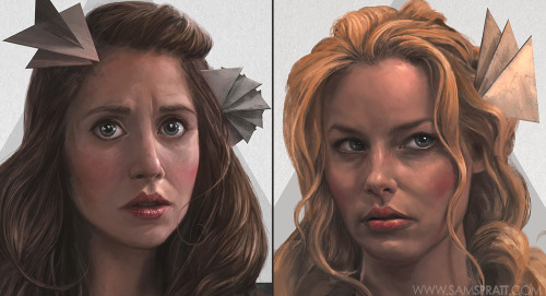samspratt:  Community is back tonight! In-progress portraits of Alison Brie (Annie) and Gillian Jacobs (Britta) for the upcoming Six Seasons and a Movie gallery by Sam Spratt