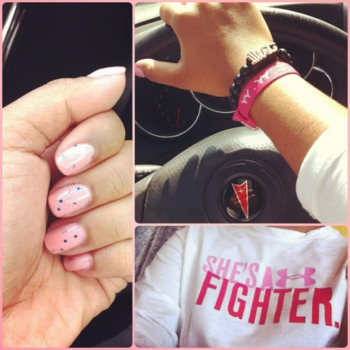 A whole lot of #pink goin' on. #ootd #bummycusimsick #nails #WWJD #illest #armswag #underarmour #UA #breastcancerawareness (Taken with instagram)
