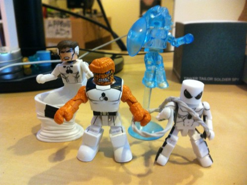I got my FF minimates from Luke's Toy Store. The FF costume design is up there with my favorites. I really love the clean white and the hexagonal logos. I'll be excited to read this book when its assembled. I know its like this crazy brain trust / think tank thing.