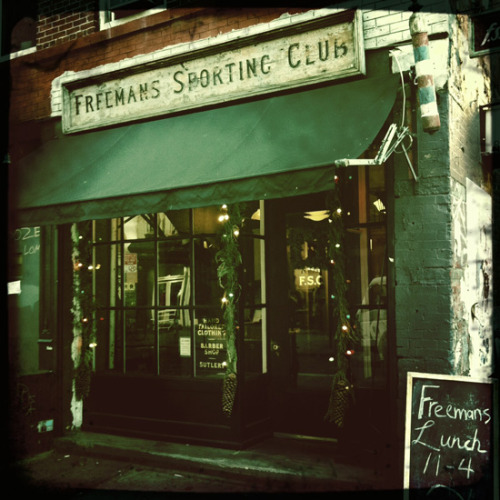 clubmonaco:   Freemans Sporting Club  Freeman's Sporting Club is not only one of my favorite joints to enjoy dinner, but I also get my hair cut at their barber shop. The atmosphere is just right. -F.E. Castleberry