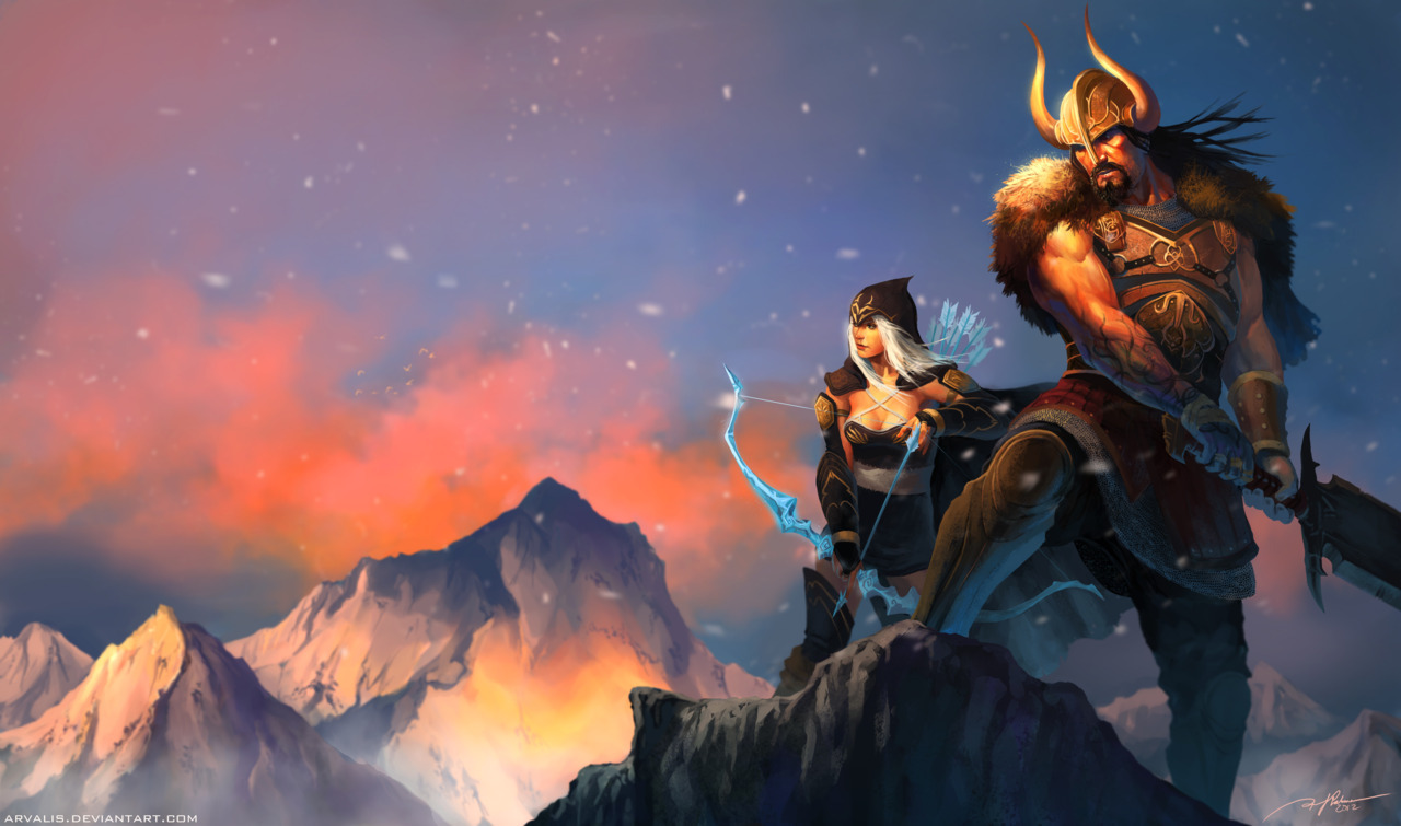 grimchild:  Faux splash page for League of Legends featuring Tryndamere and Ashe.