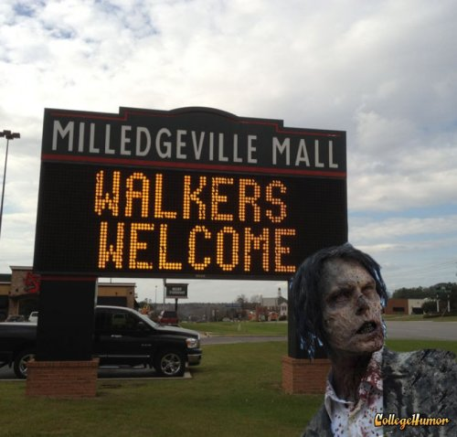 "collegehumor:   ""Walkers Welcome"" Mall   Your number one stop for Orange Julius and other stuff zombies love. [Like following us on Tumblr? Join the party on Facebook!]"