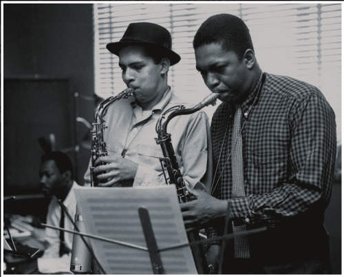 Jackie McLean and John Coltrane during Mal Waldron's Mal-2 session, Hackensack NJ, April 19 1957 (photo by Esmond Edwards)