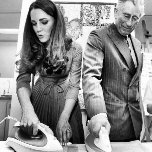 Kate Middleton and Prince Charles ironing.