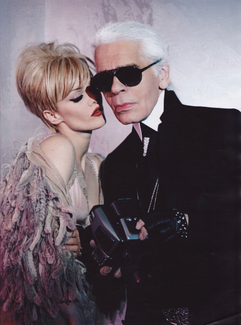 Vanessa Paradis & Karl Lagerfeld as their take on own Edie & Andy.