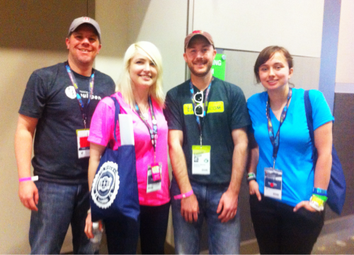 businessbullpen:  Graham and Todd with Danielle and Amanda of Tumblr at #SXSW  Graham looks a little smushed.