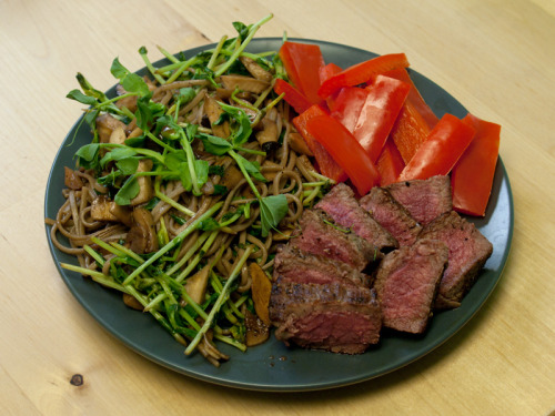 Lunch 100g beef sirloin steak: 135 calories King mushrooms and pea shoots stir fried with garlic, soy sauce, vinegar, and soba noodles: 170 calories 75g steamed red bell pepper: 25 calories Total: 330 calories  Snack tangerine: 35 calories
