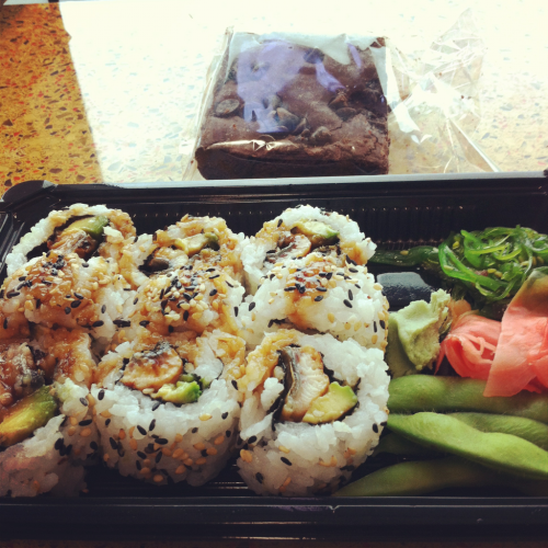 Lunch. Unagi roll, seaweed salad, edamame and chocolate chip brownie. Thank you work!