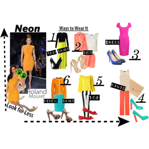 Spring Trend: Neon by chi-socialite  Neon colors are perfect for summer and make a very bright statement….you will definitely stand out, in a good way of course :) Hot pink sheath dress, £554Akira ruffle cocktail dress, $50Cashmere top, €349Floral top, $264Shell top, $90Slim tee, £38Long jacket, $107Calvin Klein Collection elastic waist pants, $798Blue Life slit skirt, $108Lace skirt, $71Shorts, $68Black pants, £6Dsquared leather heels, $478Michael kors shoes, €78Patent shoes, $55PumpsTory Burch clutch handbag, £294Juicy Couture yellow gold jewelry, $21