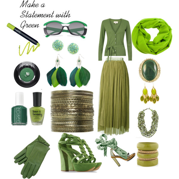 Green is a Fashion Statement by thinkeventsplanning featuring sparkle jewelry