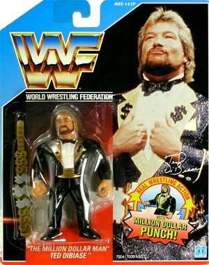 The Million Dollar Man Ted Dibiase Toy Line:  Hasbro WWF Action Figures Series 2 (1992) Accessories:  The Million Dollar Belt Action Feature:  The Million Dollar Punch Did I own it?  Yes The old Hasbro line of action figures was great.  They featured hard plastic bodies that were hard to break, which was perfect for kids who wanted to reenact their favorite wrestling matches with these toys and not worry about breaking them.  The Million Dollar Belt had a nice design to it.  The Million Dollar Punch action feature was a cute little add on as well.  Overall solid toy.