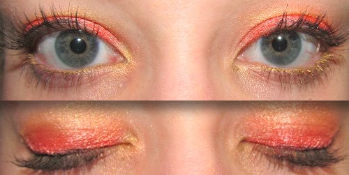 Eye makeup of the day: Safari Sunset Products used: Urban Decay Eye Primer Potion - Rating: 10/10 Costal Scents 88 Ultra Shimmer Palette - Rating: 10/10 NYX Slide on, Glide on, Stay on & Definitely a turn on, waterproof, extreme shine eye liner (Yes, it's a mouthful) in the color Glitzy Gold - Rating: 10/10 (Love it!) Maybelline Line Stiletto liquid eyeliner in the True Black - Rating: 10/10 Maybelline One by One Volume Express mascara in the color Blackest Black - Rating: 7/10