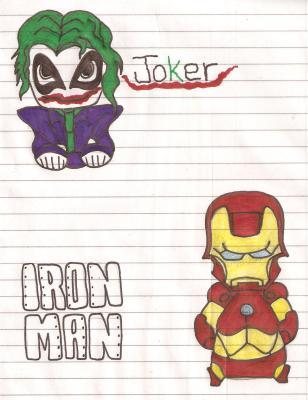 joker and iron main. i used a dragoart tutorial.