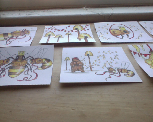 main illustrations finished. Now to research bee lore and honeybees history.Also: paint banners, scan all images, format text, find a printer, and print this thing. I predict at least another week or two for this to be done. I keep being distracted. The slow awakening of Spring is making me restless.
