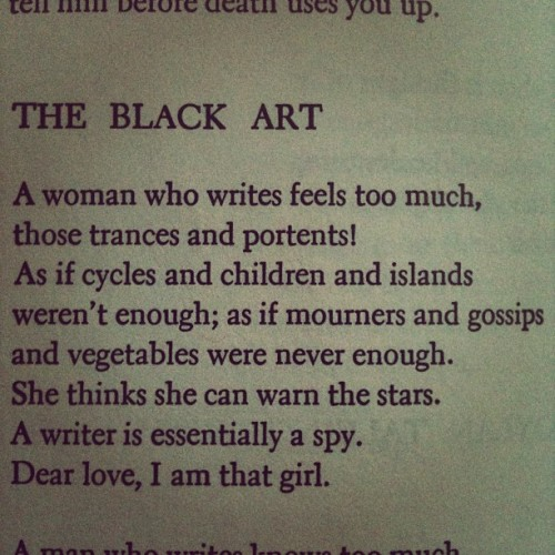 from 'the black art' anne sexton.