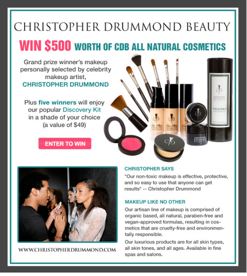 Feeling Lucky???  Win $500 of Christopher Drummond all-natural, organic-vegan makeup, compliments of Spaweek!  It's easy to register, and 6 winners guaranteed to win prizes!   http://www.spaweek.com/promotions/cdb-s12#register