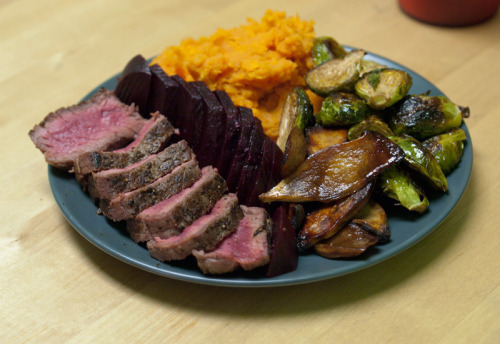 Dinner 100g beef sirloin: 135 calories mashed sweet potato: 155 calories balsamic vinegar roasted brussels sprouts: 80 calories balsamic vinegar roasted king mushrooms: 40 calories 50g boiled beets: 25 calories  Total: 435 calories  Snack granola bar: 140 calories 1 cup unsweetened chocolate almond milk: 45 calories Day Total: ~1,600 calories