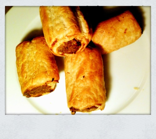 Apple & Sage Seitan Sausage Rolls for Luca.  (Luca & Holls at Riot Grrill) OK Luca told Danny that the thing he most missed when he went vegan was sausage rolls. Els & Holly & I are going to visit him in Skipton tomorrow, so I made some for him. The 'sausage' is made out of walnuts, brown rice, vital wheat gluten, and apple sauce. It's based on a recipe in 'The Vegan Slow Cooker' by Kathy Hester, a total winner book if you've got a slow cooker & are short on time. Woah, hope the weather isn't bogus tomorrow!