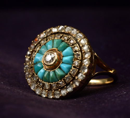 eriebasin:  Late 1800s Turquoise & Rose Cut Diamond Cluster Ring (in the online shop)