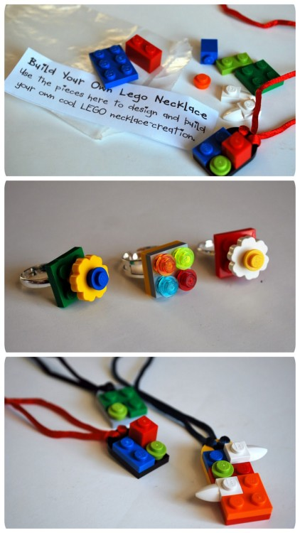 DIY Build Your Own LEGO Necklaces and Rings. Wonderful gifts or party favors. Tutorial and very detailed PDF Project Download Sheet from Chez Beeper Bebe here. *Like some I've seen on Etsy.