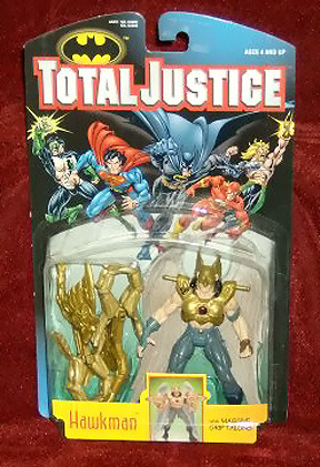 Hawkman Toy Line:  Batman Total Justice Series 2 (1996) Accessories:  Hawk God Armor Action Feature:  None Did I own this?  Yes Great toy from a little known line of toys.  The modeling and sculpting of this figure was superb and once you put all the armor on, it became a very intimidating toy.  I never did understand why Hawkman would need such a large piece of body armor to protect himself.  Overall great toy, however it loses points for the unnecessary body armor accessories that came with it.