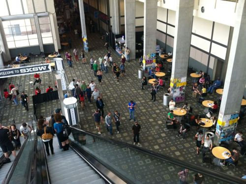 A long Thursday afternoon in the Austin Convention Center filled with a riveting Springstein keynote including a lesson in rock music history, a talk given by Nick Cave producer Vincent Van Vogt, an overview of some music metrics (check out NextBigSound.com!) … And finally a well-attended show by Delta Spirit.  Now, time to wander out of the convention center and check out Futurebirds and Alabama Shakes at Hype Machine's showcase, Hype Hotel.