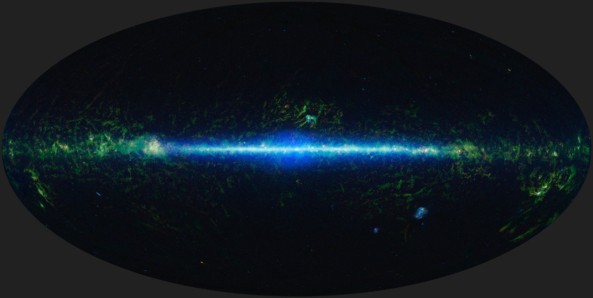jtotheizzoe:  Mapping the Infrared Universe: The Entire WISE Sky TL;DR: Biggest picture of space you'll see this week. WOW. NASA has released the newest and most complete atlas of the entire infrared sky. The Wide-Field Infrared Survey Explorer (WISE) has been soaking up interstellar spectra for three years, and this mosaic image represents the sum total of that survey. By collecting 2.7 million pictures in four wavelengths, it has been able to catalog 560 million objects, most of which are stars and galaxies (almost equal numbers of each!). In a sense, this mosaic of 18,000 images (above) represents everything that we can see from Earth. Of course, that's not a big enough picture, is it? Click here to MEGA-EMBIGGENATE!!! (10,000 x 5,000 px!!) Don't say I didn't warn you :) (ᔥ NASA Jet Propulsion Laboratory)