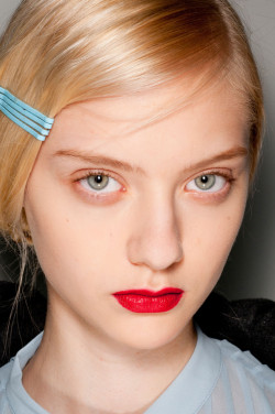 vogueweekend:  Nastya Kusakina backstage at Cacharel Fall 2012, Paris