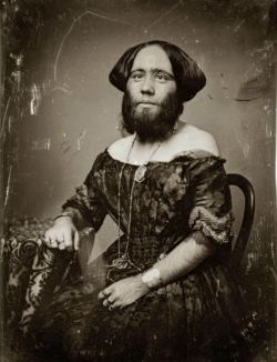 "tuesday-johnson:  ca. 1853, [daguerreotype portrait of Josephine Clofullia, P.T. Barnum's ""The Bearded Lady of Geneva""], Thomas M. Easterly via the Missouri History Museum"