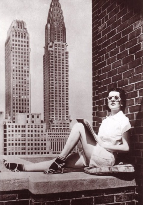 Sunning on a New York City rooftop, 1940s