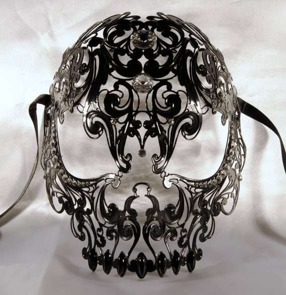 villlionaire:  Black Luxurious Venetian Skull mask in Metal $150