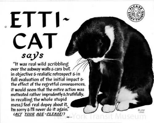 ~ Etti-Cat for the Metropolitan Transit Authority (1962) New York Transit Museum, via Vintage Ads LJ(click to enlarge)