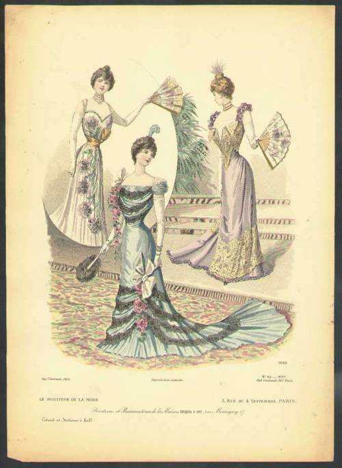 Ballgowns, 1899 Paris, Le Moniteur de la Mode
