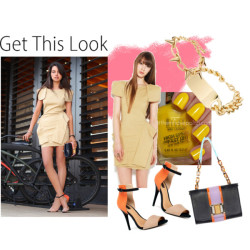 Get This Look- Pop of Color by chi-socialite featuring chunky jewelry LOVE this look!!!…..getting these shoes now! Akira Black Label rayon dress, $80Zara shoes, $50ASOS chunky jewelry, $11ASOS spike jewelry, $18Yves Saint Laurent lip makeup, $30