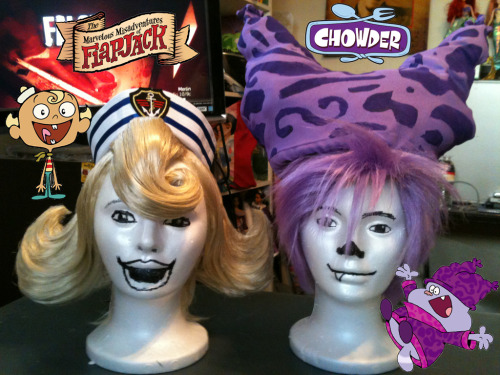 Flapjack and Chowder wigs and hats that i made.