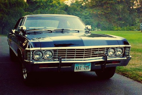 "froghat:  an objectthe impala  ""This 1967 Chevrolet Impala would turn out to be the most important car- no, the most important object in pretty much the whole universe. The Impala, of course, has all the things other cars have. And a few things they don't. But none of that stuff is important. This is the stuff that's important; The army man that Sam crammed in the ashtray, it's still stuck there. The Legos that Dean shoved into the vents, to this day, heat comes on and you can hear them rattle. These are the things that make the car theirs. Really theirs. Even when Dean rebuilt her from the ground up, he made sure all these little things stayed, because it's the blemishes that make her beautiful.""  froghat's19 uneven-and-randomly-occurring-intervals-of-time supernatural gifset challengechallenge created by ragingcanadian"