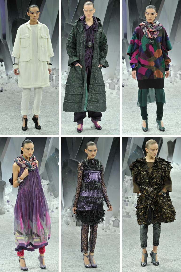 Chanel Fall12 Karl Lagerfeld this Fall for Chanel showed a rich color palette of mineral colors. His big item of the season was the skinny pants. Some were in knit, lace and denim influence worn under dresses. I particularly love the 80's multi color sweaters and the half booty, half mary jane shoe with a rock crystal heel.