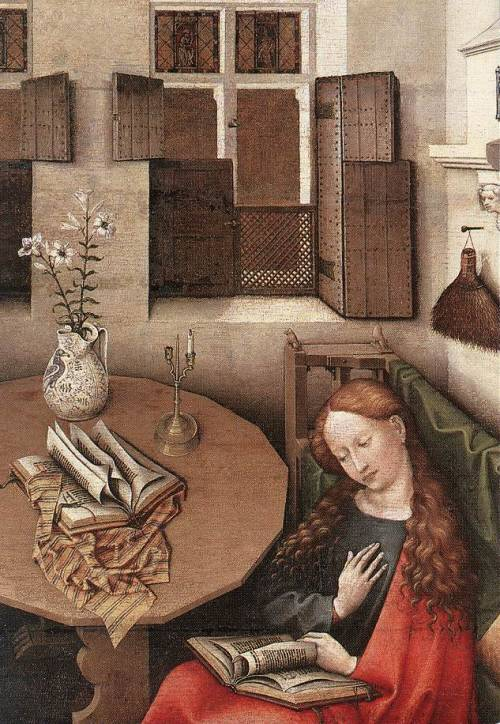 "felixinclusis:  toomuchart: Master Of Flemalle ""Annunciation - detail"" (1425) Musees Royaux des Beaux-Arts, Brussels"
