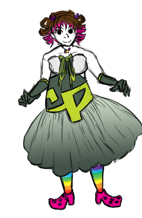 explosivetheorist:  DA in a nicer dress she made via alchemization. It was a request.  The dress is this. As per the request.   Yes those are pump crocs.