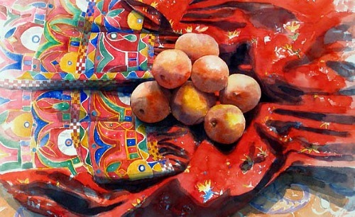 Eileen Goodman Peaches on an Indian Dress, detail 2004