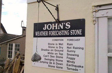 John's Weather Forecasting Stone via Anglophenia's Five Great British Scolding Signs