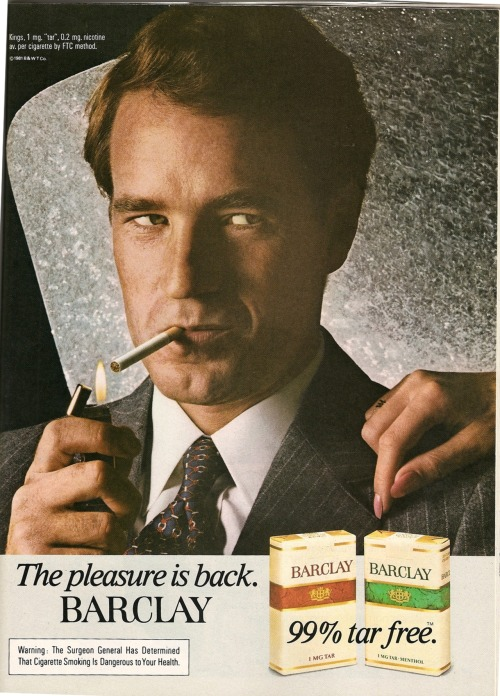 Barclay. Ad from Playboy, January 1982.