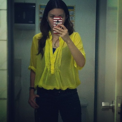 i love my own. 😁 now wearing urbandash' bright yellow sheer top. can also be use as beach cover up. 😃 #urbandash (Taken with instagram)
