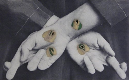 Untitled (Fingers Crossed). Hannah Wilke, mid 1970's. 4 gum sculptures on postcard.