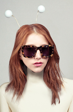 "Karen Walker Spring/Summer 2012 | ""Karen's Little Aliens"" Campaign Lookbook [preview] Photographed by Derek Kettella at Chris Boals Artists Styling by Soraya Dayani at Jed Root Casting by Natalie Joos  Hair/make-up by Valery Gherman at De Facto Inc. Photographed at A Small Studio  More campaign images available online at Karen Walker Eyewear"