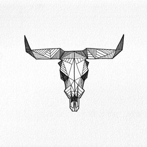 Geometric Cow Skull - Allison Kunath Buy Prints