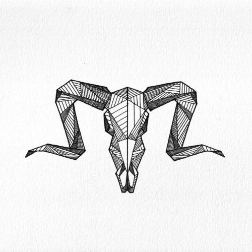 Geometric Ram Skull - Allison Kunath Buy Prints