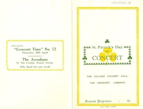 Programme for the annual St. Patrick's Night Concert, 1955 at the College Concert Hall, the Crescent, Limerick.
