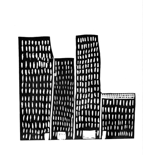 City Shapes Lino Print.